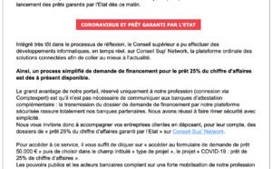 Lettre à la profession des Experts-Comptables - Coronavirus Covid-19 - Prêt 25% du chiffre d'affaires garanti par l'Etat